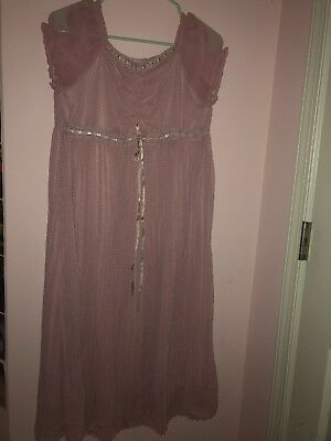 MOTHERHOOD MATERNITY Nightgown Size Small Pink Polka Dots Cap Sleeves