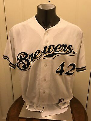 huge selection of c14fc 569bc Game used or issue Jackie Robinson Day baseball Jersey Milwaukee Brewers