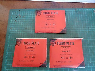 Vintage electrical fitting, orig packs, 3 x white flush plates, 4.5 x 4.5 ins