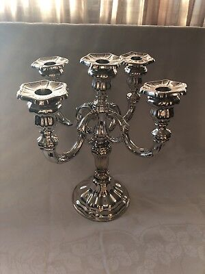 Antique German .835 Sterling Silver 5 Arm Candelabra
