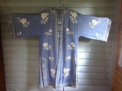 Antique Silk Embroidered Chinese Robe, Sing Fat Co. Dragon Label