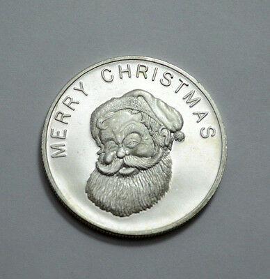 1 Oz.999 Silver Round ,Merry Christmas and Happy New Year, Santa Claus & Snowman