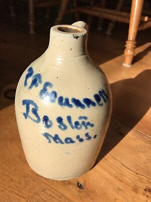 Antique Stoneware Jug 1 Gallon Excellent Condition Boston Mass.P F Seunnell?