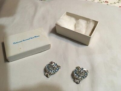 Dwight Eisenhower clip on earrings from 1956 campaign, blue rhinestones