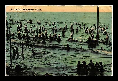 Dr Jim Stamps Us Crowds In Surf Galveston Texas View Postcard