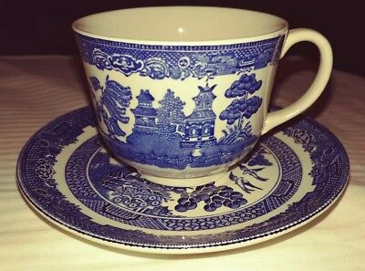 Johnson Bros Coffee Cup & Saucer Made in England WILLOW BLUE PATTERN (Tea Cups)