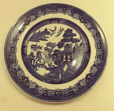 """Johnson Bros WILLOW Blue Large DINNER PLATES 10 1/4""""  Made in England"""