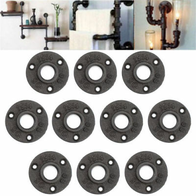 10Pcs 3/4'' Black Malleable Threaded Floor Flange Iron Pipe Fittings Wall Mount