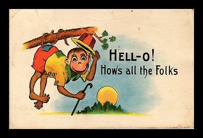 Dr Jim Stamps Us Monkey Hello Hows All The Folks Topical Comic Postcard