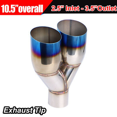 """Blue Burnt Single layer Slant Exhaust Tip Polished Stainless 2.5""""In X 3.5""""Out"""