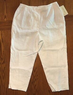ce377ad963386 Laura Ashley Women s White Linen Lined Capri Pants size 12 New with tags
