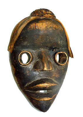 "Vtg African Carved-Wood Tribal Face Mask - 8.5"" Tall"