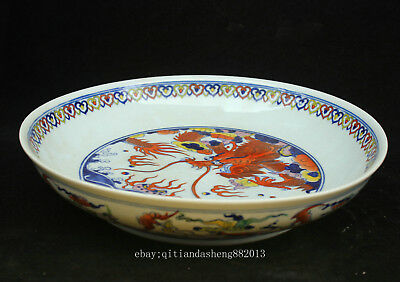 33.5cm China Old Antique Five-colored porcelain Handmade Animal Dragon Pots QCNG