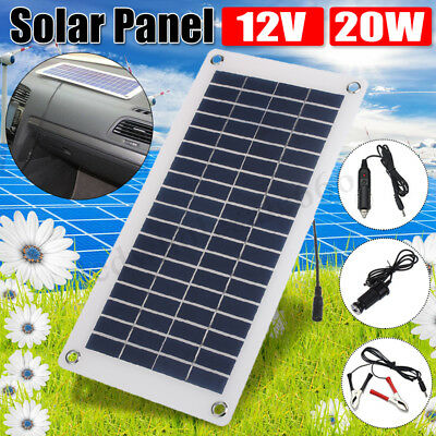 20W Solar Panel 12V to 5V Battery Charger USB for Car Boat Caravan Power Supply