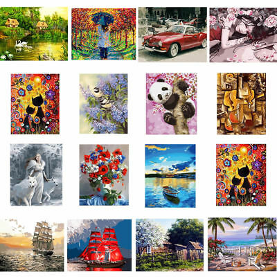 Frameless DIY Paint By Numbers Kits Oil Painting Canvas Home Office Decor
