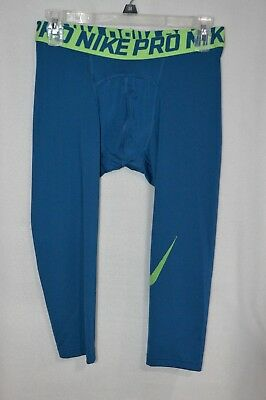Nike Men's Pro 3/4 Length Teal/Green Compression Tights (828561-457)S/M/L/XL/XXL