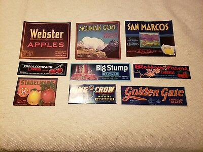 Over 140 vintage fruit and vegetable crate labels. No reserve, low opening bid