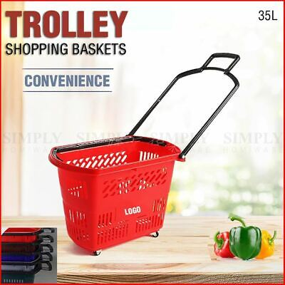 2x Shopping Baskets Trolley Grocery Rolling Wheels Business Supermarket Shop Red