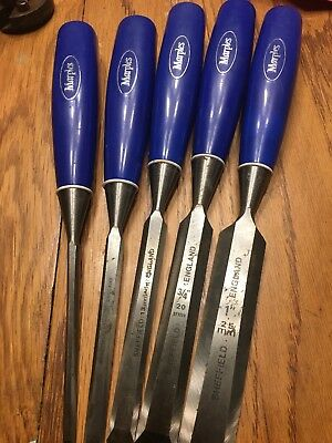 Marples Blue Handle Chisel Set, Sheffield, England 1/4, 3/8, 1/2, 3/4 And 1""