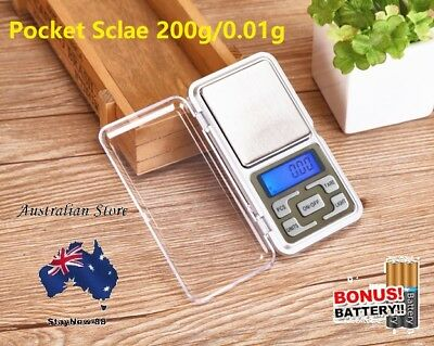 AU Electronic Pocket Mini Digital Gold Jewelry Weighing Scale 0.01g Weight 200g
