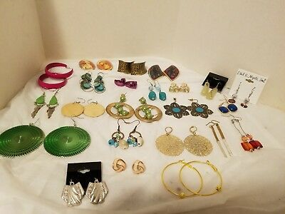 Huge Mixed Lot Of Fashion Earrings 23 Pairs Total-Post Dangling Vtg To Now