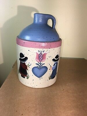 "Antique Stoneware Whiskey Jug Hand Painted 12"" Tall"