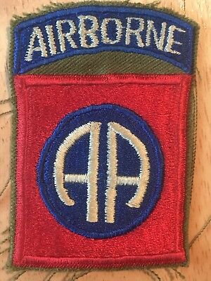 WW 2 US Army 82nd Airborne Patch Attached Tab , On OD , Nice Whiteback