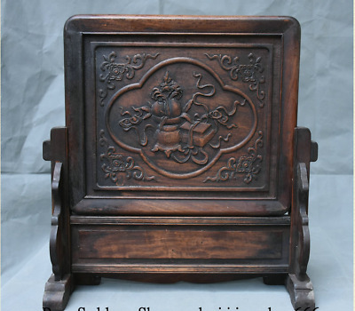 """17"""" Old Chinese Huanghuali Wood Dynasty Carving Flower Furniture Folding Screen"""
