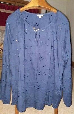 0f84c44194a Sonoma Goods For Life Women Size XL Embroidered Peasant Tunic Top Blouse