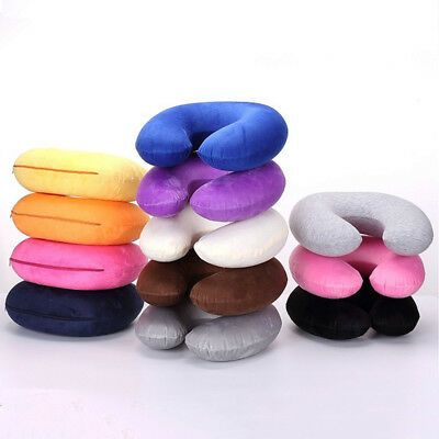 Portable Travel Inflatable U Shape Pillow Neck Support Blow Up Neck Cushion PVC