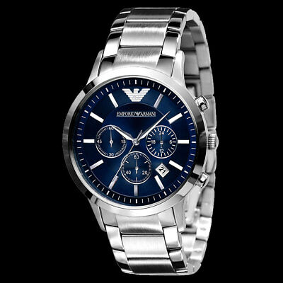 Brand New Emporio Armani AR2448 Men's Stainless Steel Chronograph Watch - Blue