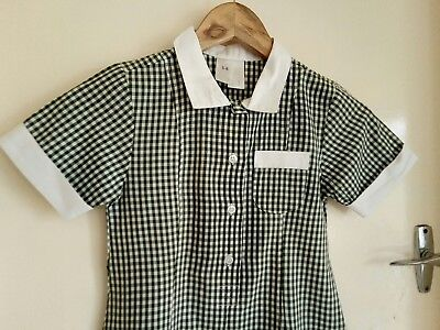 Green and White Gingham School Dress Uniform. Size 5-6.