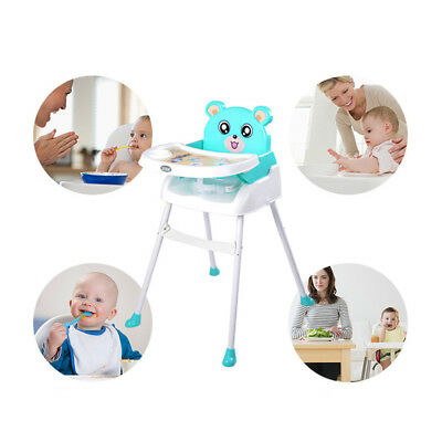Adjustable 4 in1 Toddler Feeding Chair Foldable Baby High chair+Food Tray Green