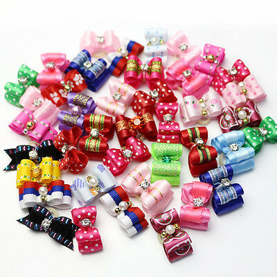 10-100Pcs 3D Small Puppy Pet Dog Rhinestone Hair Bow Rubber Bands Grooming Top