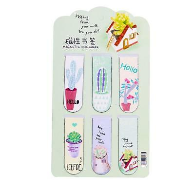 6pcs /Set Fresh Cactus Magnetic Bookmarks Books Marker of Page Stationery Top