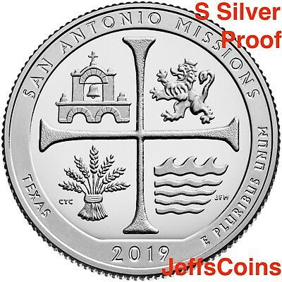2019 S San Antonio Missions National Historical Park TX 99% SILVER Proof Quarter