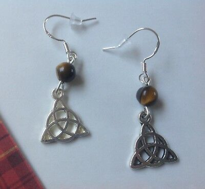 Celtic Knot and Tigers Eye Earrings on 925 Silver Hooks