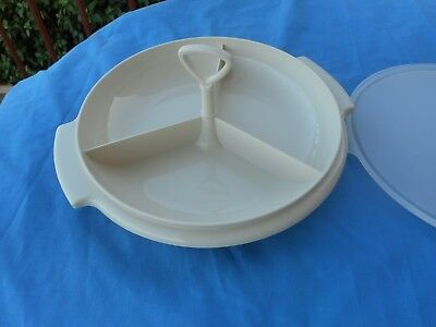 Vintage Suzette Tupperware Divided Serving Tray With Handle And Lid