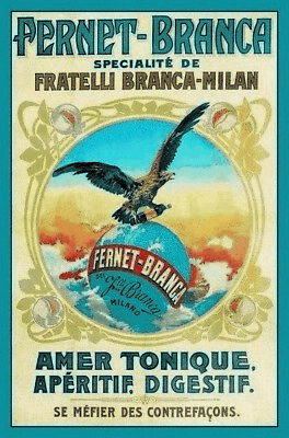 Fernet Branca Eagle Metal Sign Signboard Arched Metal Tin Sign 7 7/8x11 13/16in