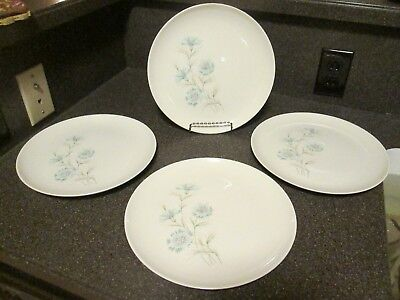 """4 Vtg Taylor Smith Taylor Boutonniere Ever Yours Cornflower 10"""" Dinner Plates"""