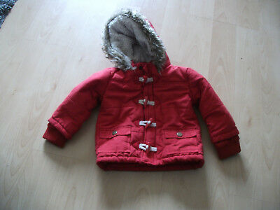 **Babies F & F Red Jacket  with fur hood Age 9-12 months Good Condition**