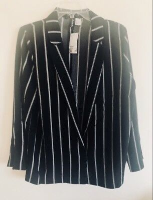 New With Tags H&M Striped Blazer Jacket Size L