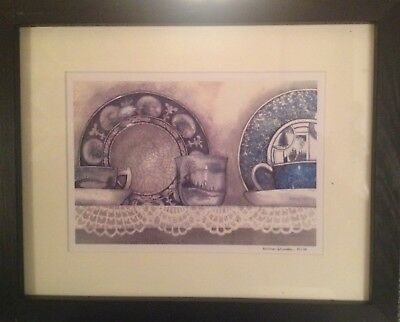 FREE SHIPPING!!! Hand Painted Framed and Signed Watercolor Painting of Plates
