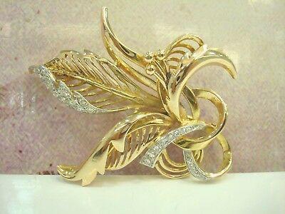 Broche Ancienne Or Jaune 18 Carats 750/000 Diamants 0.42 Ct  15.70 Grs R76946