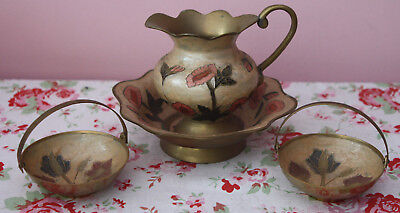 Antique and Vintage Brass Painted Jug and Bowl + 2 Painted Trinket Dishes