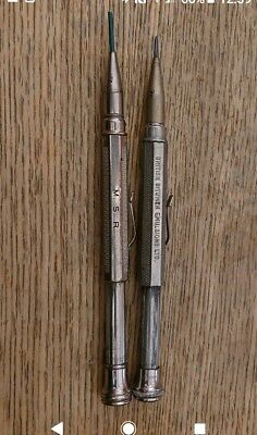 2x Vintage Antique propelling mechanical pencil advertising BRITISH BITUMEN EMUL