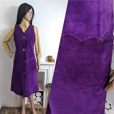 Vintage 60s Purple Suede Scalloped Dress Tunic Mod Psych Boho 10 38
