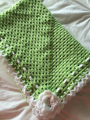 New Handmade Crochet  Baby Blanket unisex, pram, car or Home.