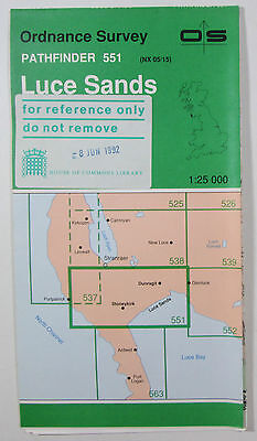 1992 vintage OS Ordnance Survey 1:25000 Pathfinder map 551 Luce Sands NX 05/15