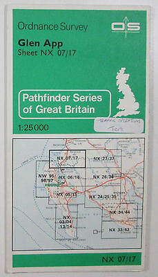 1981 old vintage OS Ordnance Survey 1:25000 Pathfinder map Glen App NX 07/17